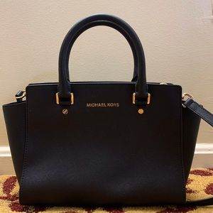 Michael Kors Medium Black Selma Leather Purse